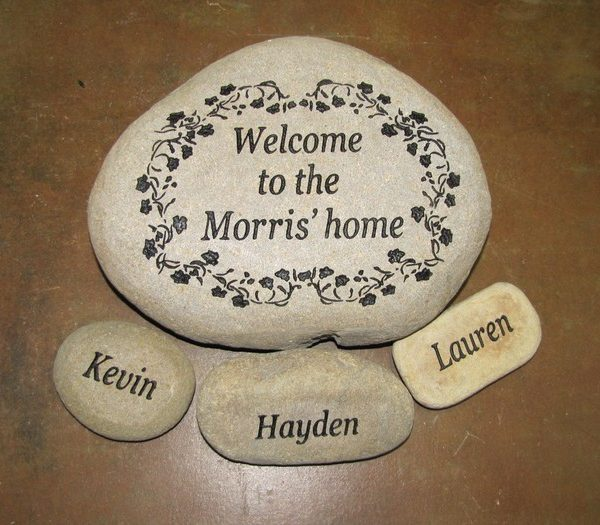 engraved personalized family stones large multi stone river rocks