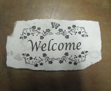 Engraved Welcome Stone w/ Flowers