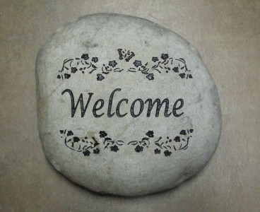 Engraved Welcome Stone - Small River Rock